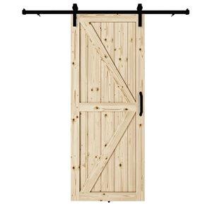 Porte de grange en bois de pin Artisan de Colonial Elegance avec trousse d'installation, 37 po x 84 po, naturel