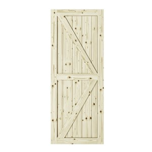 Colonial Elegance Artisan Unfinished Wood Barn Door - Pine - 42-in x 84-in - Natural