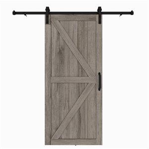 Porte de grange préfinie en MDF Artisan de Colonial Elegance avec trousse d'installation, 37 po x 84 po, vinyle gris