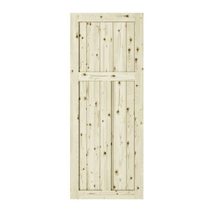 Colonial Elegance Craftman Unfinished Wood Barn Door - Pine - 33-in x 84-in - Natural