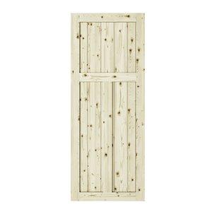 Porte de grange en bois de pin Craftman de Colonial Elegance, 33 po x 84 po, naturel