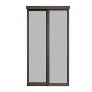 Porte coulissante en MDF  à 1 panneau Colonial Elegance et quincaillerie d'installation, 48 po x 80 po, moka