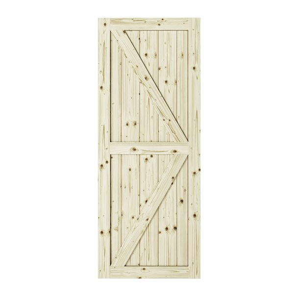 Porte de grange en bois de pin Artisan de Colonial Elegance, 33 po x 84 po, naturel