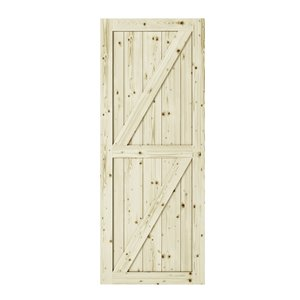 Colonial Elegance Full Check Unfinished Wood Barn Door - Pine - 33-in x 84-in - Natural