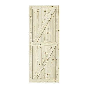 Porte de grange en bois de pin Full Check de Colonial Elegance, 33 po x 84 po, naturel