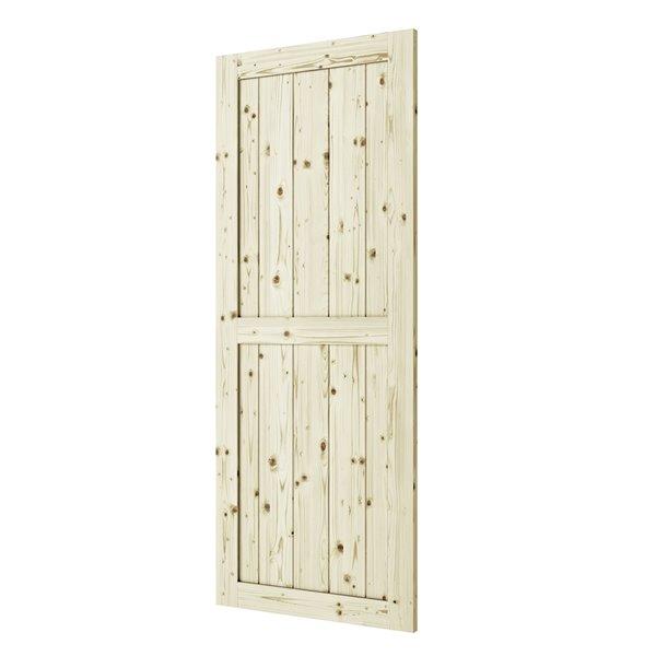 Porte de grange en bois de pin Ranch de Colonial Elegance, 42 po x 84 po, naturel