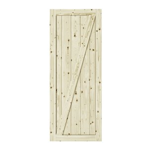 Colonial Elegance Z-Frame Unfinished Wood Barn Door - Pine - 42-in x 84-in - Natural
