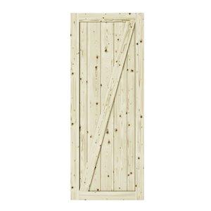 Porte de grange en bois de pin Z-Frame de Colonial Elegance, 42 po x 84 po, naturel