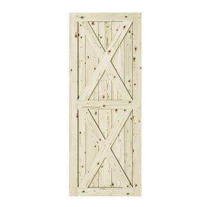 Porte de grange en bois de pin Magnolia de Colonial Elegance, 33 po x 84 po, naturel