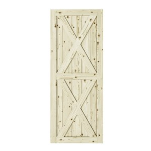 Colonial Elegance Magnolia Unfinished Wood Barn Door - Pine - 37-in x 84-in - Natural