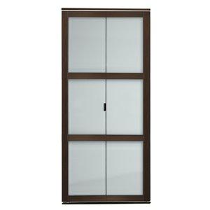 Porte pliante en MDF à 3 panneaux Colonial Elegance et quincaillerie d'installation, 36 po x 80 po, moka