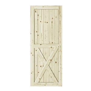 Porte de grange en bois de pin Half Cross de Colonial Elegance, 33 po x 84 po, naturel