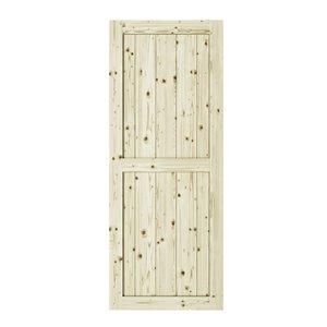 Porte de grange en bois de pin Ranch de Colonial Elegance, 37 po x 84 po, naturel