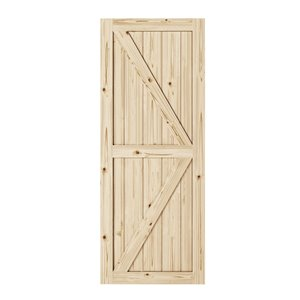 Colonial Elegance Artisan Unfinished Wood Barn Door - 37-in x 84-in - Natural Pine