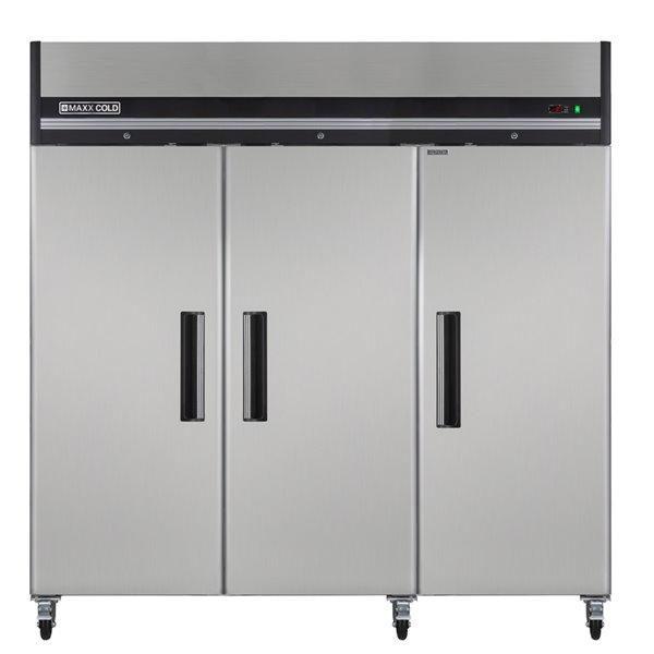 Réfrigérateur commercial X Series Maxx Cold à 3 portes, 72 pi³, acier inoxydable