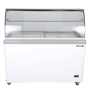 Vitrine à crème glacée avec plateau Maxx Cold, dégivrage automatique, 14 pi³, blanc