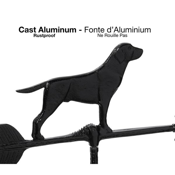 Girouette pour le toit Klassen Bronze avec motif de chien, fonte d'aluminium noire