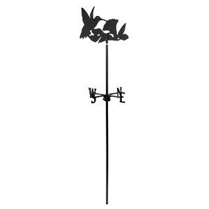 Girouette pour jardin Klassen Bronze avec motif de colibri, fonte d'aluminium noire