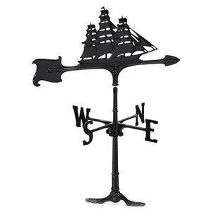 Klassen Bronze Vessel Roof-Mount Weathervane - Black Cast Aluminum