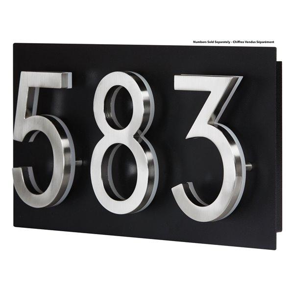 Petite plaque d'adresse PRO-DF pour chiffres DEL, 7 po x 18 po, acier noir