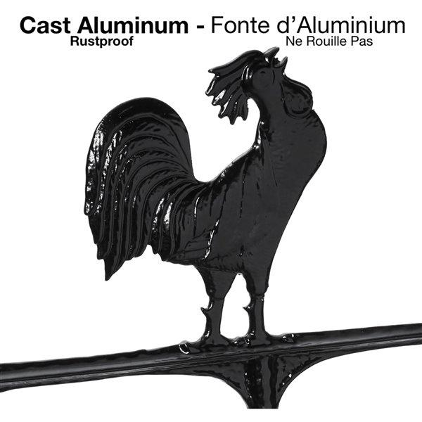 Girouette grand format Klassen Bronze avec motif de coq, fonte d'aluminium noire