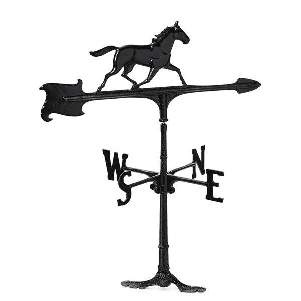Girouette grand format Klassen Bronze avec motif de cheval, fonte d'aluminium noire