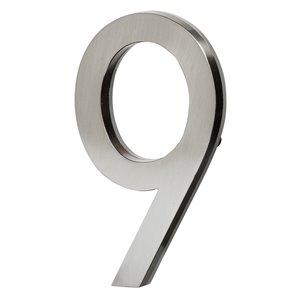 Chiffre d'adresse contemporain PRO-DF, numéro 9, 5 po, nickel satiné
