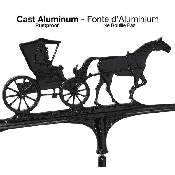 Girouette grand format Klassen Bronze avec motif de calèche, fonte d'aluminium noire