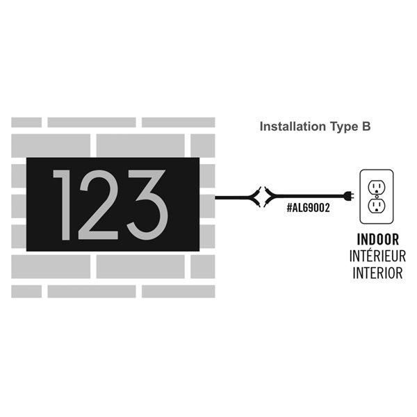 Câble d'alimentation pour plaque d'adresse DEL, 120 Volt