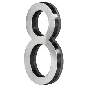 Chiffre d'adresse contemporain PRO-DF, numéro 8, 5 po, nickel satiné