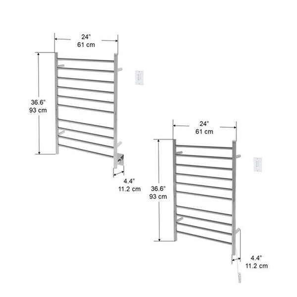 Ancona Novara Dual 10-Bar Wall-Mount Towel Warmer with Timer - Polished