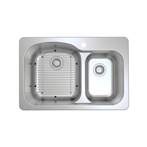 Ancona Tusca Series Dual-Mount 60/40 Double Bowl Kitchen Sink - 33-in x 22-in - Stainless Steel