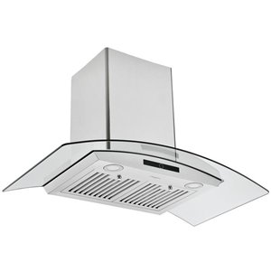 Ancona 36-in Convertible Wall-Mounted Glass Canopy Range Hood - 600 CFM - Stainless Steel