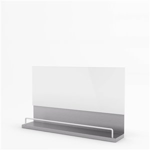 Inoxia Pluton Metal Backsplash - 33.4-in x 32-in - Stainless Steel and White