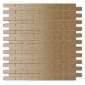 Tuile murale autoadhésive en métal Bricky de SpeedTiles, herringbone11,81 po x 11,42 po, cuivre pâle