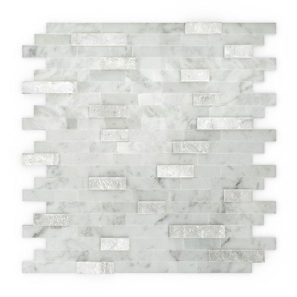 Tuile murale autoadhésive en pierre Camarillo de SpeedTiles, motif linéaire, 11,77 po x 11,57 po, blanc et gris