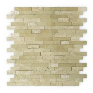 SpeedTiles Cairo Natural Stone Peel and Stick Wall Tile - Linear Pattern - 11.77-in x 11.57-in - Beige