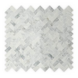 SpeedTiles Ocean Natural Stone Peel and Stick Wall Tile - Herringbone Pattern - 12.09-in x 11.65-in - White and Grey