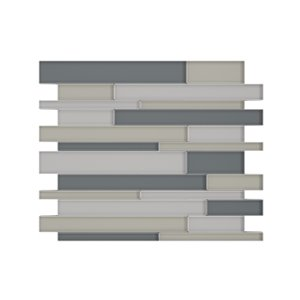 SpeedTiles Satya Glass Peel and Stick Wall Tile - Linear Pattern - 12.2-in x 9.72-in - Mixed Grey