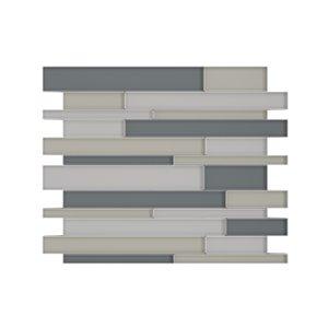 Tuile murale autoadhésive en verre Satya de SpeedTiles, motif linéaire, 12,2 po x 9,72 po, mélange de gris