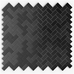 SpeedTiles Caltrop Metal Peel and Stick Wall Tile - Herringbone Pattern - 12.09-in x 11.65-in - Black Stainless Steel