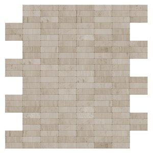 Tuile murale autoadhésive en pierre naturelle Hare de SpeedTiles, motif linéaire, 11,42 po x 11,57 po, gris/beige
