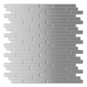 Tuile murale autoadhésive en métal Linox de SpeedTiles, motif linéaire, 12,09 po x 11,97 po, acier inoxydable