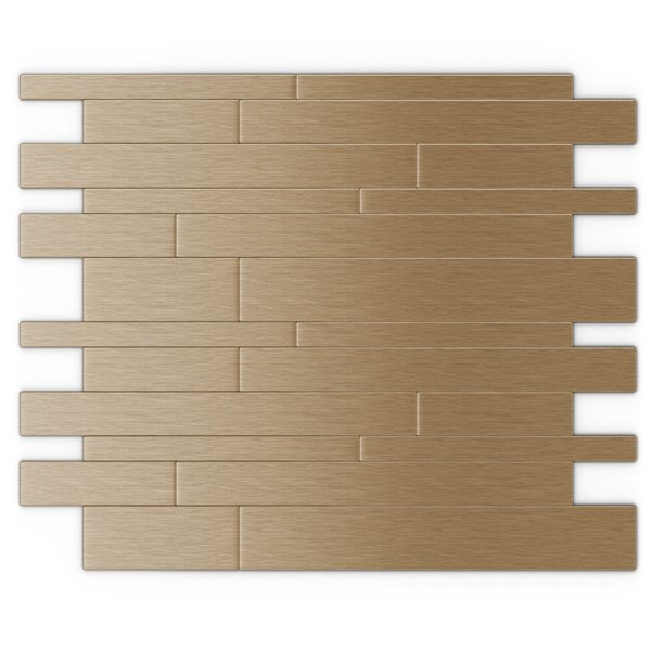SpeedTiles Murano Metal Peel and Stick Wall Tile - Linear Pattern - 12.2-in x 9.72-in - Light Copper