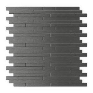 SpeedTiles Linox Metal Peel and Stick Wall Tile - Linear Pattern - 12.09-in x 11.97-in - Dark Grey