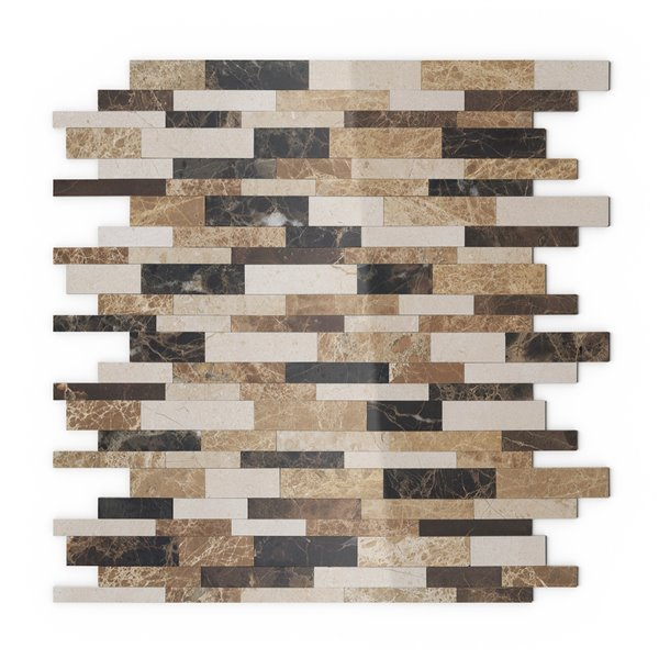SpeedTiles Amber Natural Stone Peel and Stick Wall Tile - Linear Pattern - 11.65-in x 11.34-in - Beige and Brown