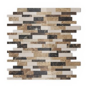 Tuile murale autoadhésive en pierre naturelle Amber de SpeedTiles, motif linéaire, 11,65 po x 11,34 po, beige et brun