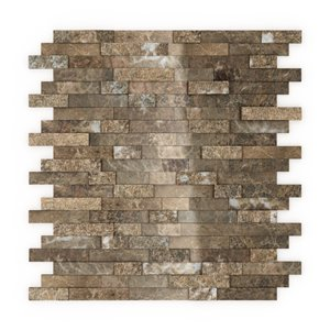 SpeedTiles Bengal Natural Stone Peel and Stick Wall Tile - Linear Pattern - 11.77-in x 11.57-in - Light Brown