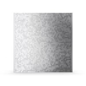 Inoxia Hexagonia Metal Self-Adhesive Range Backsplash - 31-in x 4-in - Silver Grey