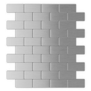 Tuile murale autoadhésive en métal Brick de SpeedTiles, motif de briques, 10,98 po x 11,8 po, acier inoxydable